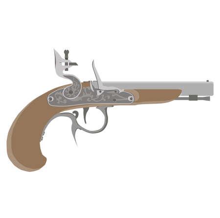 Flintlock vector vintage pistol illustration gun weapon old white pirate musket retro isolated