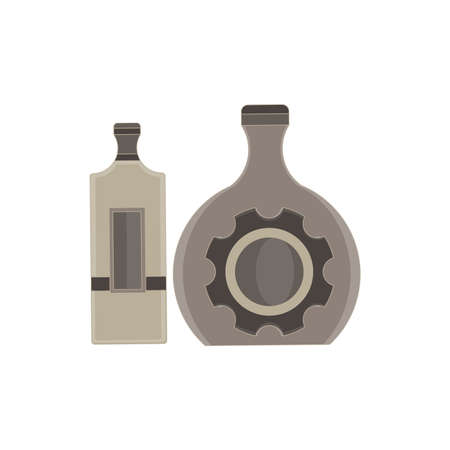Vector bottle alcohol flat icon isolated. Wine, beer illustration. Alcoholic bar glass beverage drink collection