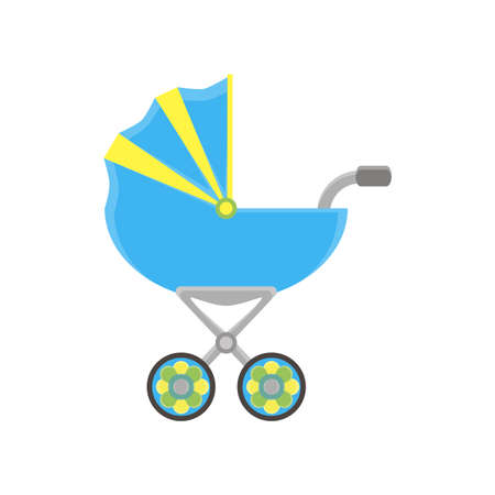 Baby carriage pram icon vector stroller silhouette isolated illustration flat isolated