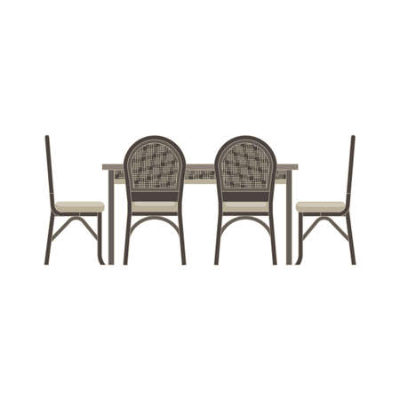 Vector table chair two flat icon isolated. Restaurant furniture side view illustration. Cafe design dinner interior