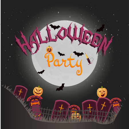 spider web: Halloween background with crosses, night, pumpkins, candle and full moon vector illustration poster party