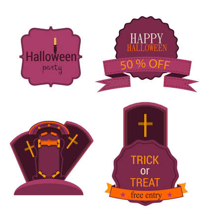 spider web: Halloween Badges and Labels .Vector Illustration set sign isolated