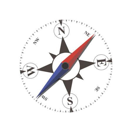 Compass flat arrow old illustration sea navigation travel isolated nautical rose star symbol.