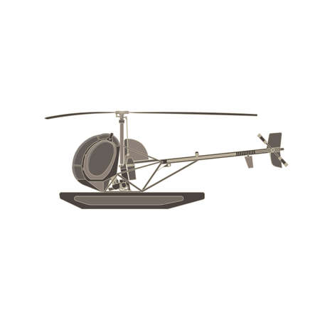 Vector helicopter flat icon isolated. Aircraft side view illustration aviation design .