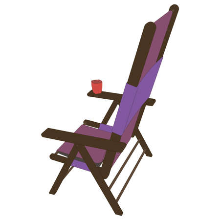 Vector chair illustration recliner icon beach summer lounge design relax vacation reclining isolated