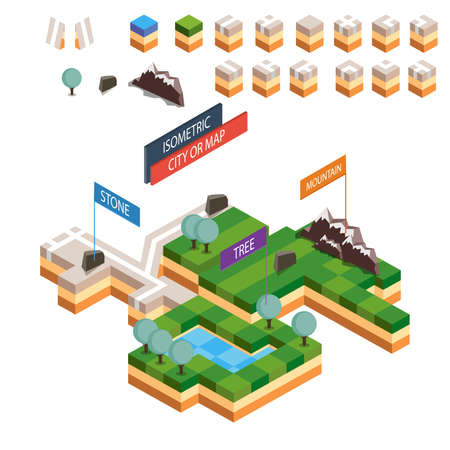 map toolkit: Isometric map city vector road set kit building isolated design urban estate