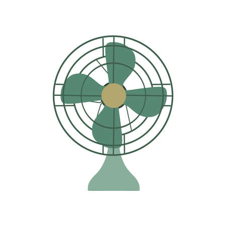 Fan green electric front view design style. Vectores