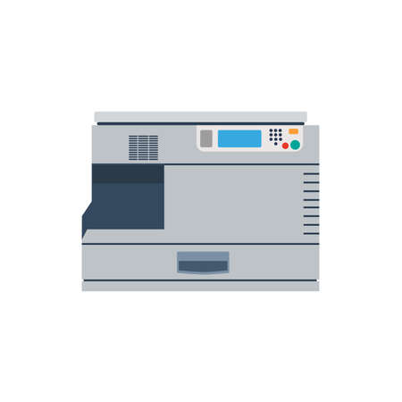 Printer machine office copy vector. Print business icon illustration photocopier paper. Copier isolated scanner laser