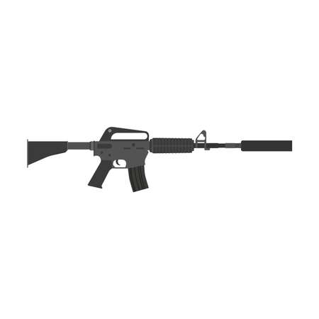 Rifle vector gun assault weapon military war illustration silencer. Army isolated gun sniper automatic special