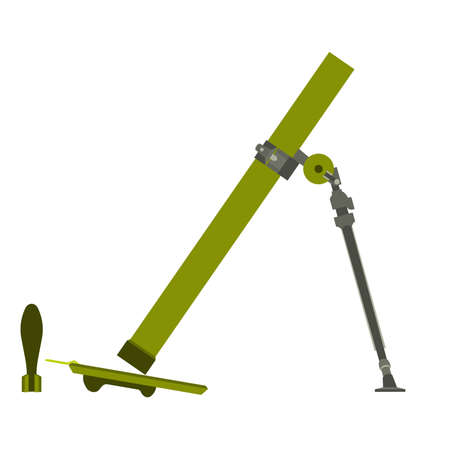 Military mortar vector illustration army icon bomb isolated. Symbol weapon war gun design. Art logo