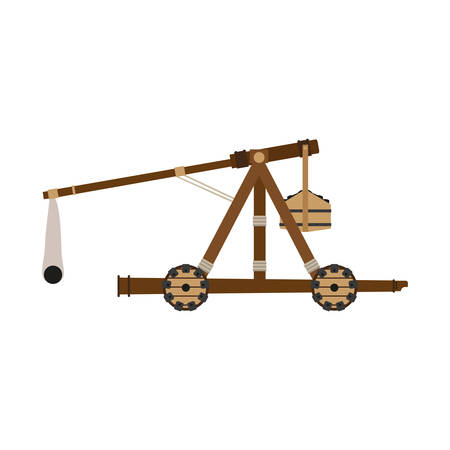Catapult weapon vector illustration icon isolated wooden slingshot. War cartoon medieval old object flat