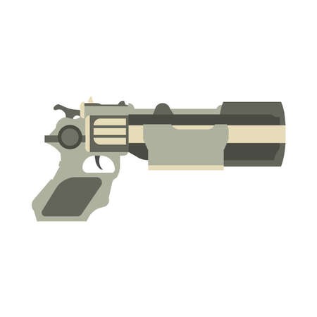 Gun futuristic weapon vector illustration blaster game laser space pistol. Handgun ray future science fiction cartoon