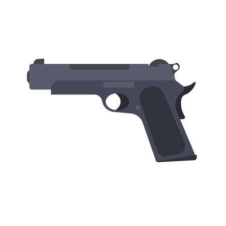 Pistol gun vector revolver isolated handgun illustration weapon white. Military war firearm black icon old Illustration