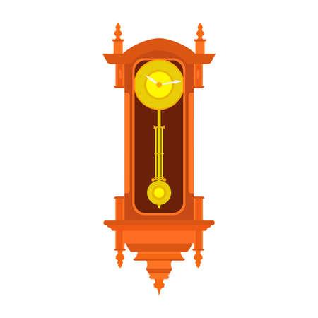 Illustratie van de de slinger oude antieke tijd van de klokmuur de vector. Vintage retro uur geïsoleerd ontwerp horloge minuut. Alarm decoratie pictogram. Stockfoto - 95122966
