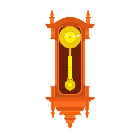 Clock wall vector pendulum old antique time illustration. Vintage retro hour isolated design watch minute. Alarm decoration icon.