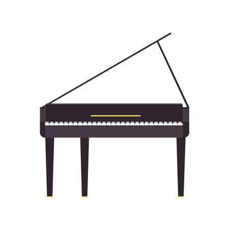 Piano grand vector music illustration instrument black musical isolated classical white icon. Key concert background sound art