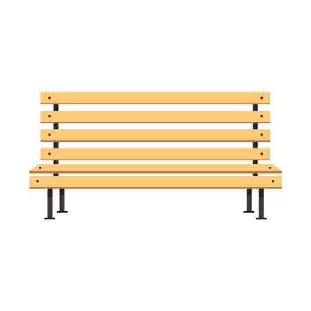 Park wooden bench vector flat concept illustration design.