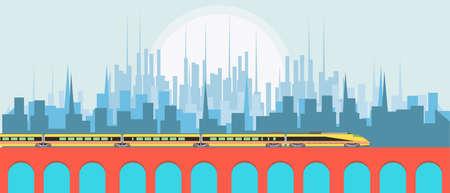 Hight speed passenger train against city background vector flat illustration design landscape