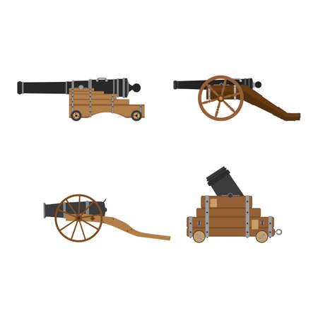 Medieval artillery cannon set vector flat illustration design concept. Castle defense weapon. Illustration