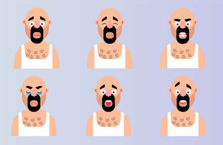 Set face emotion cartoon man character. Flat vector illustration bearded head with different expressions emoji design. Ilustrace