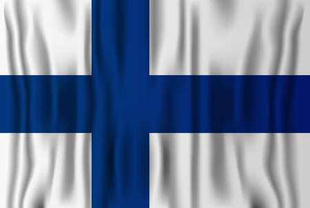 Finnish realistic flag vector illustration. Finland independence national day.