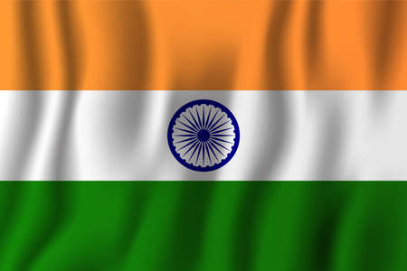 India realistic waving flag illustration. National country background symbol. Independence day.