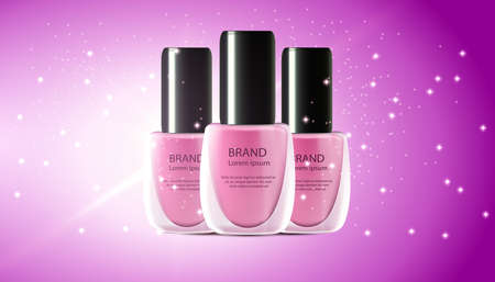 Nail polish realistic 3d makeup cosmetic illustration. Manicure and pedicure mockup color ad product. Background spash paint beauty.Fashion pink lacquer bottle brand varnish poster art. Reflection gel Illustration