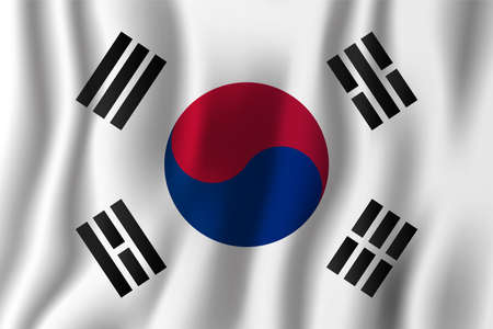 South Korea realistic waving flag vector illustration. National country background symbol. Independence day.