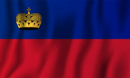 Liechtenstein realistic waving flag vector illustration. National country background symbol. Independence day.
