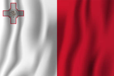 Malta realistic waving flag vector illustration. National country background symbol. Independence day.