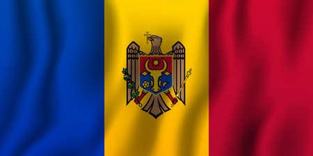 Ilustración de vector de bandera ondeante realista de Moldavia. Símbolo de fondo del país nacional. Día de la Independencia.