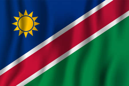Namibia realistic waving flag vector illustration. National country background symbol. Independence day.
