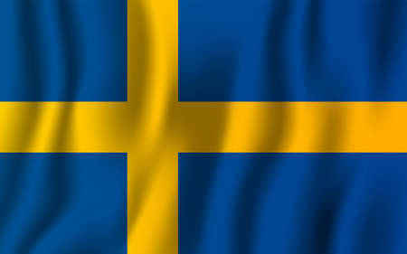 Sweden realistic waving flag vector illustration. National country background symbol. Independence day.