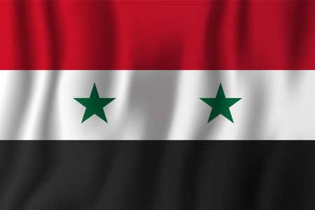 Syria realistic waving flag vector illustration. National country background symbol. Independence day.