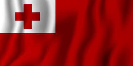 Tonga realistic waving flag vector illustration. National country background symbol. Independence day.