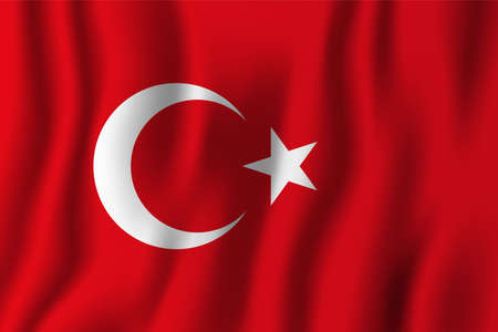 Turkey realistic waving flag vector illustration. National country background symbol. Independence day.