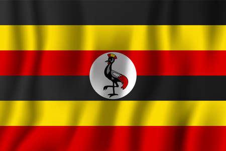 Uganda realistic waving flag vector illustration. National country background symbol. Independence day.