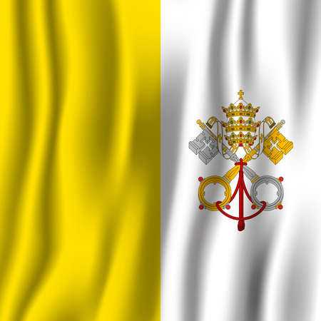 Vatican City realistic waving flag vector illustration. National country background symbol. Independence day.