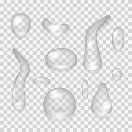 Water drop realistic 3d set vector illustration background isolate. Transparent pure bubble liquid aqua. Backdrop clean surface design motion rain. Shiny falling reflection icon. Smooth dew shape.
