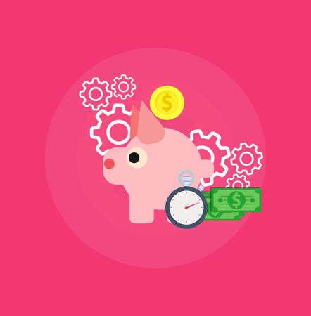 Zeit ist Geldvektor flache Illustration Symbol Logo. Arbeitszeitrente zurück. Dollar Management multiplizieren Währungspraktikum. Nachverfolgung des prozentualen Anteils der Barkapitalisierung. Superannuation Value Timer Pay Logo