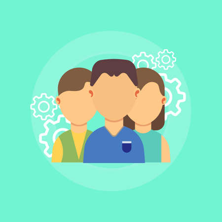 Teamwork business people together symbol. Professional team person group vector. Togetherness partnership work success connection. Management agreement brainstorming icon office. Illustration support.