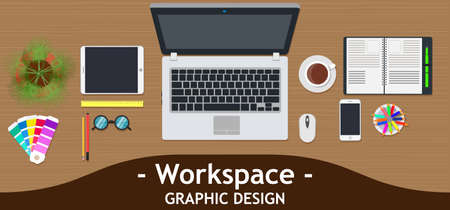 Graphic designer workspace office. Creative desk work vector. Business design art table studio concept top view. Flat color background technology. Inspiration marketing dashboard project analysis. Vettoriali