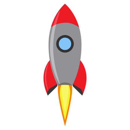Rocket launch creative space vector. Flight idea symbol red spaceship. Futuristic astronomy shuttle icon background. Illustration start adventure technology concept. Development vehicle project cosmos Ilustração