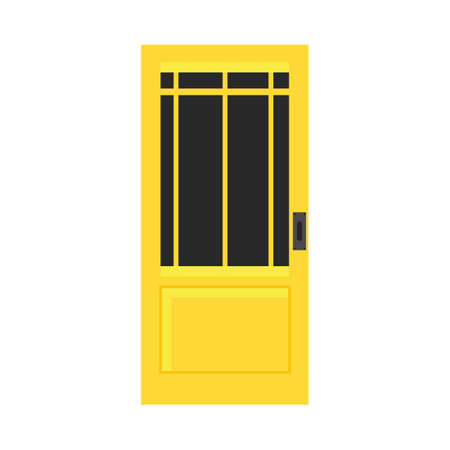 Door exterior decoration security entrance vector flat icon. House yellow doorway