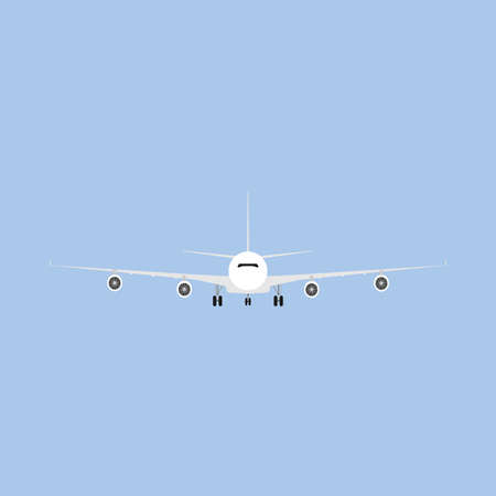 plane departure runway international white airliner front view flat icon isolated