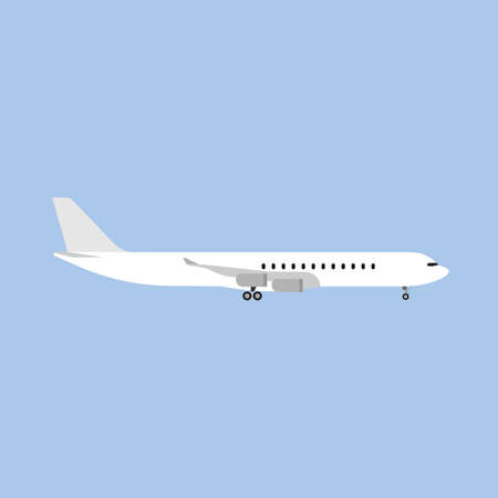 plane departure runway international white airliner side view flat icon isolated