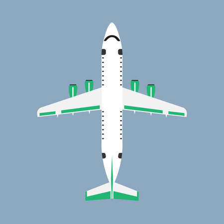 Airliner transportation journey white plane top view. Tourist travel plane vector flat