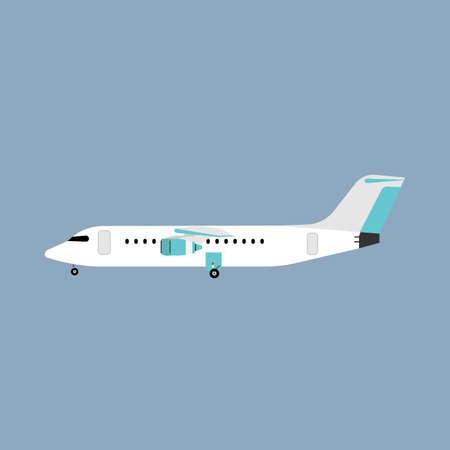 Vista laterale dell'aereo bianco di viaggio di trasporto aereo di linea. Vettore aereo di viaggio turistico flat