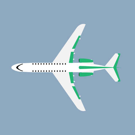 Airliner transportation journey white plane top view. Tourist travel plane vector flat
