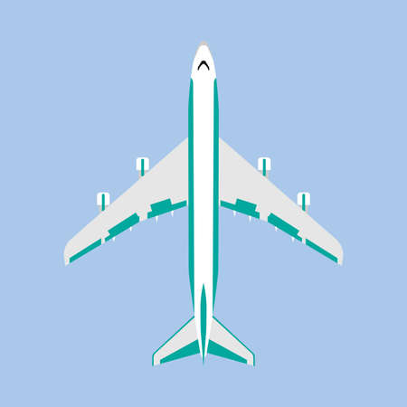 Aeroplane transoptation modern travel vehicle top view vector. Air business jet flat icon